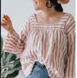 Rachel Zoe linen striped flowy square neck